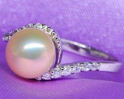 Bague en perle rose et blanche,vermeil