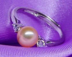 Bague en perle blanche/rose/lavande,vermeil | 27