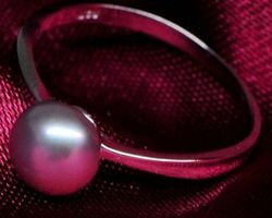 Bague en perle blanche/rose /lavande,vermeil