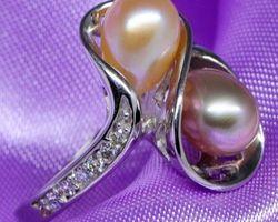 Bague en perle multi-couleur,vermeil