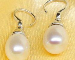 Boucles d'oreilles en perles blanches,vermeil