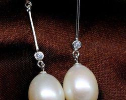 Boucles d'oreilles en perle blanche,vermeil