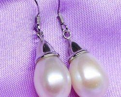 Boucles d'oreilles en perle blanche,vermeil | 31
