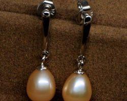 Boucles d'oreilles en perle blanche/rose/lavande,vermeil