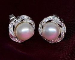 Boucles d'oreilles en perle blanche/rose,vermeil