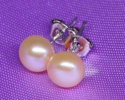 Boucles d'oreilles en perle blanche/rose/lavande/noire,vermeil
