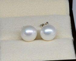 Boucles d'oreilles en perle blanche,vermeil | 36
