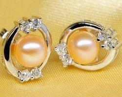 Boucles d'oreilles en perle blanche/rose/lavande,vermail