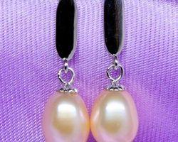 Boucles d'oreilles en perle blanche/rose
