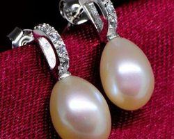 Boucles d'oreilles en perle blanche/rose   39