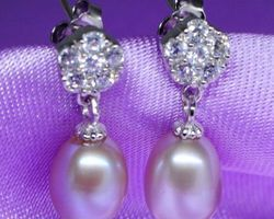 Boucles d'oreilles en perle blanche /rose/lavande