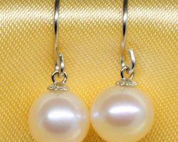 Boucles d'oreilles en perle blanche/lavande