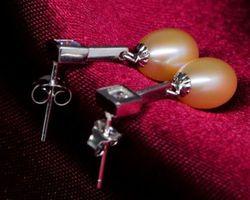 Boucles d'oreilles en perle blanche/rose | 46