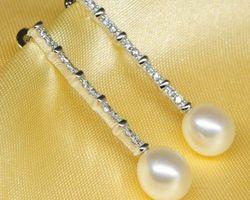 Boucles d'oreilles en perle blanche | 47