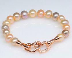 Bracelet en perle blanche/multi-couleur
