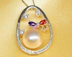 Pendentif en perle blanche/rose/lavande | 72