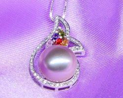 Pendentif en perle blanche/rose/lavande | 74