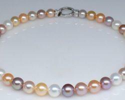 Coliers de perle blanche/multi couleur
