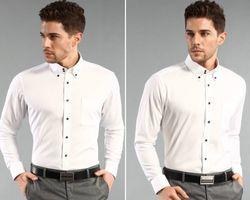 Chemise pour Homme col requin avec bouton contrastent