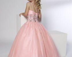 Robes pour petite demoiselle d|honneur rose avec brillant